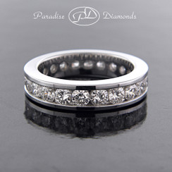Style PDK117 - 3.00ct. Lady's Channel set Diamond Eternity Band, 14K White Gold