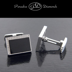 PDC205 Men's Pave Set Diamond Rectangular Onyx Cufflinks