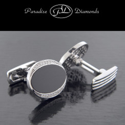 PDC206 Men's Pave Set Diamond Oval Onyx Cufflinks