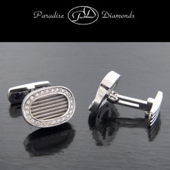 PDW208 Men's Pave Set Diamond Oval Cufflinks
