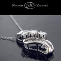 PDK413 Three-Stone Round Diamond Pendant With Channel Set Baguettes