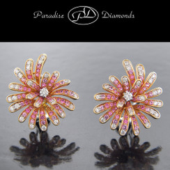PDO826 Pink Sapphire And Diamond Pave Set Earrings