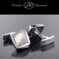 PDW205 Mother Of Pearl And Diamond Cuff Links 0.15CT