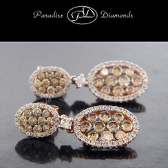 PDX815 Brown And White Pave Set Diamond Dangling Earrings 1.97CT/0.65CT
