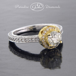 Style PDX502C   0.90CT Center Stone Round Halo Diamond Antique Style Two Tone 18K White And Yellow Gold