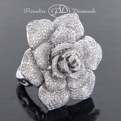 Style PDH165 2.80CT Rose Petal Micro Pave Set Diamond Ring/Pendant Single Shank 18K White Gold