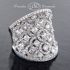 Style PDE1016 - 3.40CT Round Diamond Cluster Saddle Ring 18K White Gold