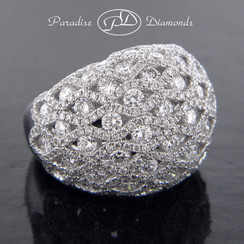 Style PDE1014 - 5.40CT Round Diamond Dome Cluster Ring 18K White Gold