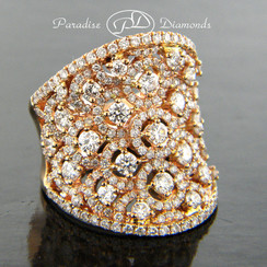 Style PDE1013 - 3.35CT Round Diamond Cluster Saddle Ring 18K Rose Gold