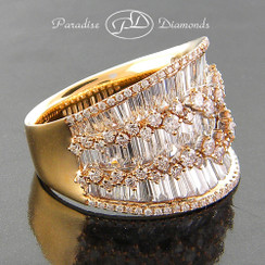 Style PDE1010 - 5.85ct. Lady's Diamond Cocktail Ring, Baguette and Round Diamonds, 18K Rose Gold