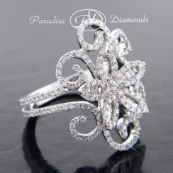 Style PDE194 - 1.15CT Round And Baguettes Diamond Free Form Ring 18K White Gold