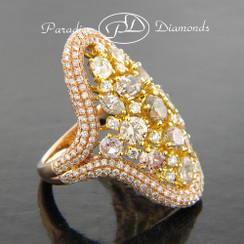 Style PDL105 - 7.15CT Pave Cluster Multi Color Diamonds  Ring 18K Rose Yellow Gold