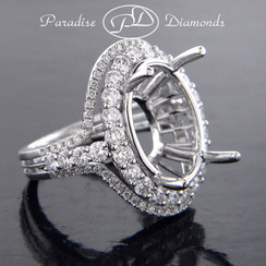 Style PDE5074 Double Oval Halo Diamond Semi Mount Ring Three Row Shank 18K White Gold