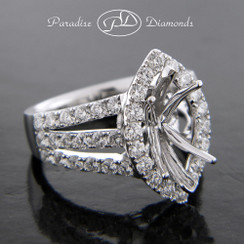 Style PDE5038 Marquise Halo Center Six Prong Semi Mount Double Split Shank With Round Accent Diamonds 18K White Gold