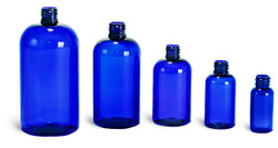 Buy Plastic Cobalt Blue Boston Round Bottles