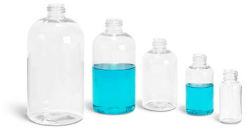 Buy Plastic Clear Boston Round Bottles