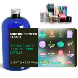 "Custom Labels for 4oz. Boston Round Bottles - (2.125"" Tall x 5.75"" Wide)"