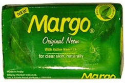 Margo Original Neem Soap with Active Neem Oil  For Clear Skin, Naturally  Margo Original Neem Soap is enriched with more active neem oil than most other soaps. Its proven anti-bacterial properties deep cleanse and protect your skin giving you clear skin, naturally.  Key Ingredients: Neem Soap, Fragrance, Lanolin  Neem is known to aid with acne issues and blemishes. It is astringent and gives glowing skin. It is an anti microbial herb, rendering microorganisms inactive and thus aids with infections as well. Additionally, neem herb aids with relief from eczema and ringworms.