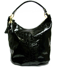 Black Croc Sofia Hobo Bag