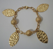 Gold Leaf and Ball Bracelet