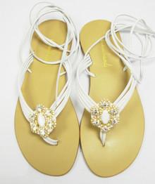 White Ava Crystal Sandal