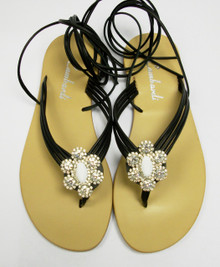 Black Ava Crystal Sandal