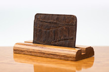 3 Pocket Card Case Cognac Gator