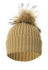 Mocha Wool and Silk Fox Fur Knitted Bobble Hat