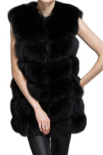 Black Check Fox Fur Gilet WAFF01