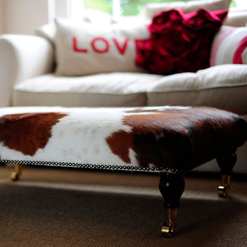 Bespoke Footstool With Turned Leg And Brass Castors