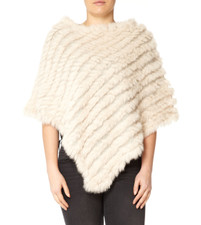 White Coney Fur Poncho RF1018A-02