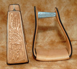 Straight Time Stirrups Packer/Over-Size Sewn Hand Tooled Leather Light Oil