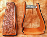 Straight Time Stirrups Packer/Over-Size Sewn Hand Tooled Leather Dark Oil