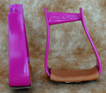 Straight Time Stirrups Cow Horse Powder Coat with Leather Tread
