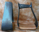 Straight Time Stirrups Roper/Trail Powder Coat with Leather Tread