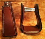 Straight Time Stirrups Little Britches Sewn Leather Stirrup Dark Oil