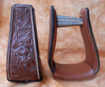 Straight Time Stirrups Little Britches Sewn Tooled Leather Stirrup Light Oil