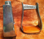 Straight Time Stirrups Little Britches Stirrup Burnished Aluminum with Leather Tread
