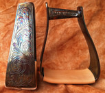 Straight Time Stirrups Packer/Over-Size Satin Copper Stirrup Custom Engraved with Leather Tread