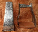 Straight Time Stirrups Roper/Trail Burnished Hand Engraved with Leather Tread