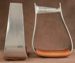 Straight Time Stirrups Roper/Trail Burnished with Leather Tread