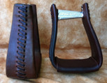 Straight Time Stirrups Roper/Trail Leather Lace Stirrup Dark Oil