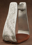 Straight Time Stirrups Roper/Trail In Stock Hand Engraved Polished with Leather Tread