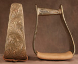 Straight Time Stirrups Roper/Trail In Stock Hand Engraved Copper with Leather Tread