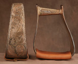 Straight Time Stirrups Roper/Trail In Stock Hand Engraved Antiqued Copper with Leather Tread