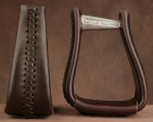 Straight Time Stirrups Roper/Trail Leather Lace Stirrup Burgundy Leather