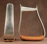 Straight Time Stirrups Cow Horse Stirrup Satin Nickel Plated with Leather Tread