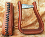Straight Time Stirrups Cow Horse Leather Lace Stirrup Dark Oil