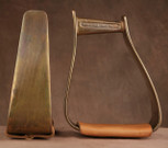 Straight Time Stirrups Packer/Over-Size Satin Copper Stirrup with Leather Tread