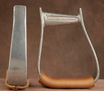 Straight Time Stirrups Barrel Stirrup Burnished Aluminum with Leather Tread